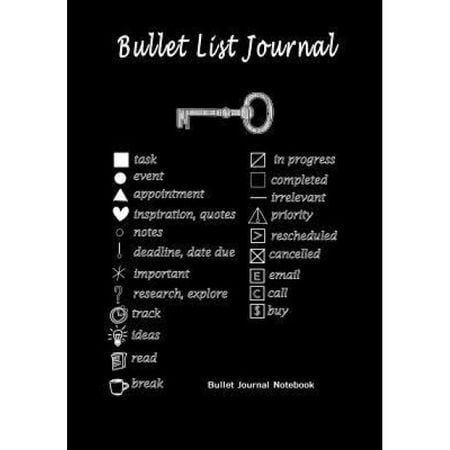 "Bullet List Journal: Bullet Journal Notebook: Improve Your Effectiveness with This Bullet Journal, 120 Pages, 7"" X 10"" Black, Blank Books Journals (Author)"