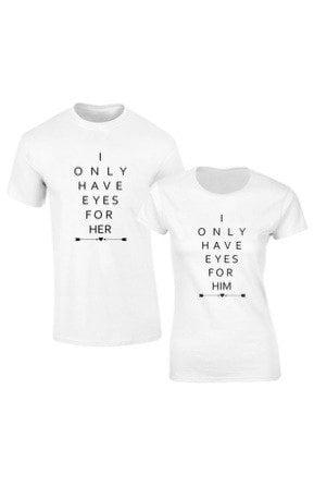 Set de 2 tricouri pentru cuplu albe Eyes for Her/Him , marimea M