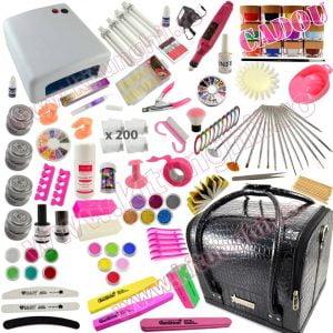 Kit Unghii False cu Gel UV OCS si Geanta Cosmetica Manichiura Promotie 12 CADOU 12 Geluri Color EzFlow