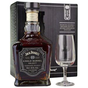 Whiskey Jack Daniels Single Barrel gift box pahar degustare 70cl 45