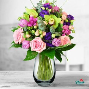 flori buchet cu trandafiri si minirosa 33601